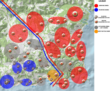 Here the situation in Chernarus after the fourteenth battle, in orange the next battle area